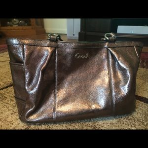 Coach rose gold copper colored metallic bag